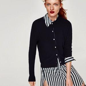 Zara gem button black cardigan sweater